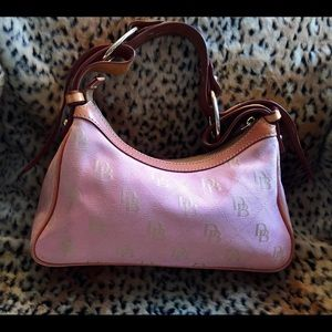 Dooney & Bourke Bags - DOONEY & BOURKE Pink Canvas with Tan Leather Trim
